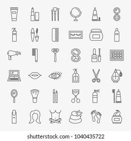 Cosmetics Line Icons Set. Vector Thin Outline Beauty Symbols.