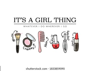 Cosmetics, make up items drawings / Vector illustration design for fashion graphics, t shirt prints, posters, covers etc