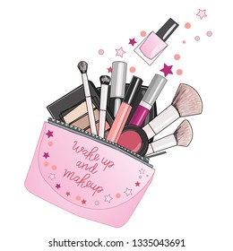 Cosmetics for makeup in bag. Background for catalog or advertising. Hand drawn vector illustration of cosmetic and fashion. Hand lettering