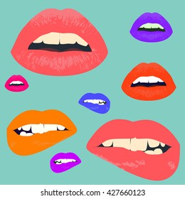 Cosmetics and makeup seamless pattern. Closeup beautiful lips of woman with red lipstick and gloss. Sexy wet lip make-up. Open mouth. Sweet kiss.