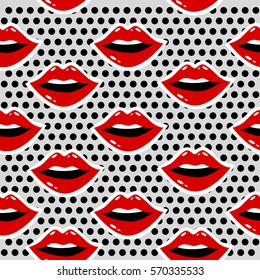 Cosmetics and makeup seamless pattern. Closeup beautiful lips of woman with red lipstick and gloss. Sexy wet lip make-up. Open mouth. Sweet kiss.Funny wallpaper for textile and fabric. Fashion style.