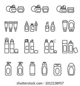 Cosmetics package icon set with white background. Thin Line Style stock vector.