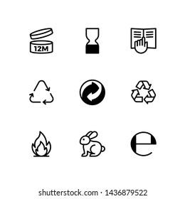 Cosmetics packaging symbols set.Vector Illustration