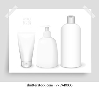 Cosmetics poster with shampoo bottle, dispenser and tube, vector 3D concept