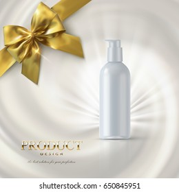 Cosmetics product ads poster template. Cosmetic mockup design. White cream tube package on swirling creamy background with golden bow. 3d vector illustration