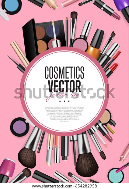 Cosmetics Products Fashion Makeup Banner Brushes Stock Vector Royalty Free 654282958