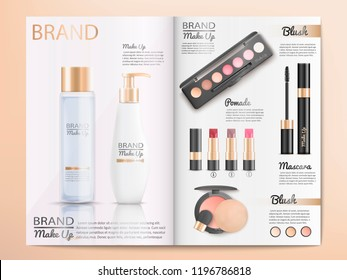 Cosmetics Products, Make Up Accessories Catalog Template with Branded Shampoo, Lotion, Skin Care Cream, Blush, Mascara, Lipstick and Blush Realistic Vector. Beauty Magazine, Promo Booklet or Brochure