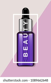 Cosmetics products vector poster for beauty industry and events. Skin care essence glass realistic bottle with silver cap and dropper applicator in frame with type. Trendy violet make up background.