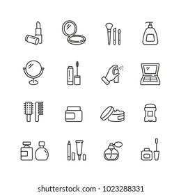 Cosmetics related icons: thin vector icon set, black and white kit