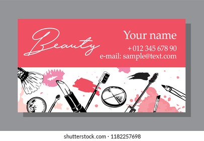 Cosmetics sale banners and ads templates, hand drawn style vector illustration.