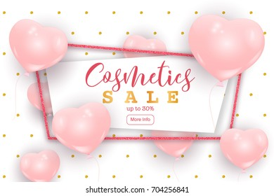 Cosmetics sale web banner, flyer concept. Pink cute balloons in shape of heart randomly flying over white background, gold dots pattern, realistic vector illustration.