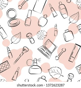 cosmetics set beauty seamless vector pattern. Concept for web design, print, textile, cards, shop add