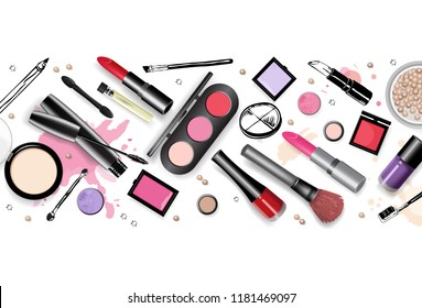 Cosmetics set, hand drawn style vector illustration