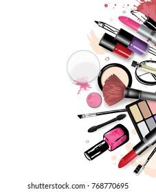 Cosmetics set, hand drawn style vector illustration.