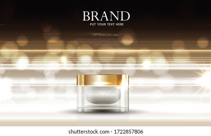 Cosmetics or skin care product ads with bottle and gold background glittering light effect. vector design.
