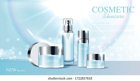 Cosmetics or skin care product ads with bottle and blue background glittering light effect. vector design.
