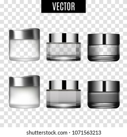 Cosmetics skincare empty glass package samples assortment realistic set wth spray bottles on transparent background vector illustration