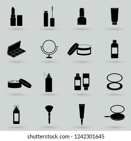Cosmetics Solid Web Icons. Vector Set of Beauty Glyphs.