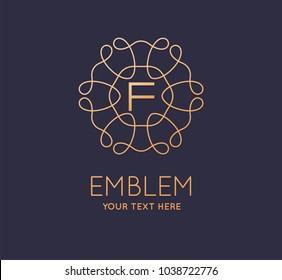 Cosmetics, Spa, Beauty salon,  Decoration, Boutique Floral logo. Luxury, Business, Royal Jewelry, Hotel Logo. Interior Icon. Resort and Restaurant Monogram. Vector.