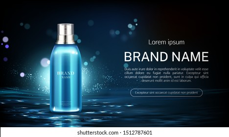 Cosmetics spray bottle mock up banner. Beauty product package on water surface background. Night moisturize lotion tube mockup, natural cosmetic skin care promo ad. Realistic 3d vector illustration