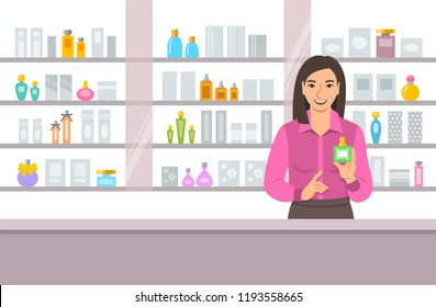 Cosmetics store asian girl counter near shelves with perfumes and skin care products. Young woman seller offering bottle with new aroma at the perfume shop. Vector cartoon background