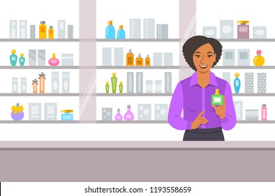 Cosmetics store black girl counter near shelves with perfumes and skin care products. Young woman seller offering bottle with new aroma at the perfume shop. Vector cartoon background