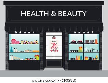 Cosmetics store building and interior with products on shelves, shopping,  beauty shop, cosmetic products,  beauty salon shopping, health and beauty vector illustration.