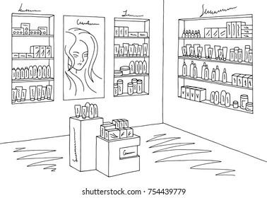 Cosmetics store graphic shop black white interior sketch illustration vector