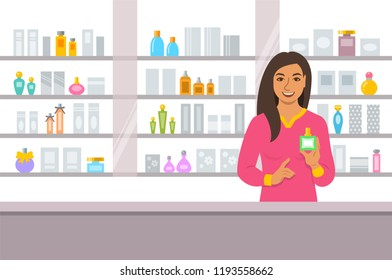 Cosmetics store indian girl counter near shelves with perfumes and skin care products. Young woman seller offering bottle with new aroma at the perfume shop. Vector cartoon background