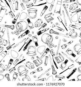 Cosmetics stuff seamless pattern