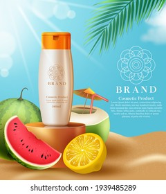 Cosmetics sunscreen product vector template design. Cosmetic sunblock products with tropical fruits like lemon and watermelon extract element for summer skin care ad promotion design.