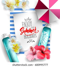 Cosmetics sunscreen products with tropical flowers.Summer recreation attributes. Skin care cosmetic products that contain protection from the sun.Vector template