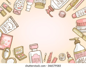 Cosmetics top view frame. Hand drawn template with make up objects â?? shampoo, cream, lipstick, mascara nail-polish, perfume, lotion, eyeshadow. Doodle cosmetics background for beauty shop.