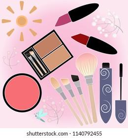 Cosmetics Vector. makeup tools. illustration fashion style.
