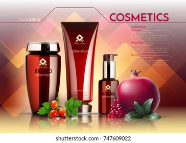 Cosmetics Vector realistic package ads template. Face cream and hair products bottles. Pomegranate and egglantine extract. Organic set Mockup 3D illustration.