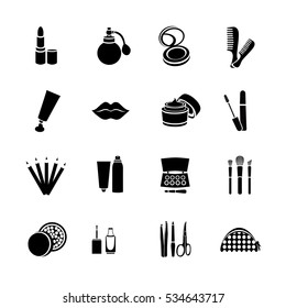Cosmetics vector set flat web icons. Black and white icons with cosmetic products and the elements to create a make-up for internet, web, mobile apps, interface design, presentations, logo, button