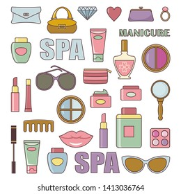 Cosmetics vector set on the white background