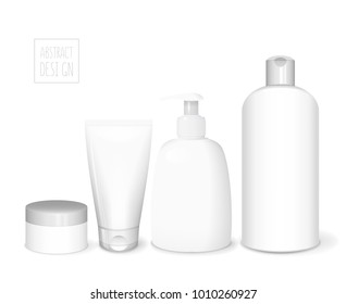 Cosmetics white templates set, vector 3D concept