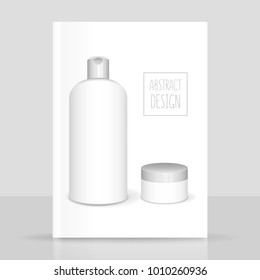 Cosmetics white templates set, vector 3D concept