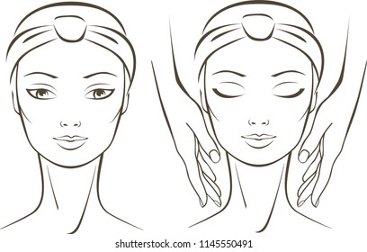 cosmetologist makes face massage in spa salon beauty treatment concept