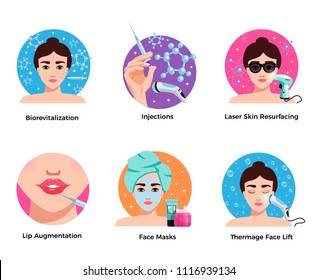 Cosmetology 6 flat round icons concept with laser skin resurfacing face lift lip augmentation isolated vector illustration