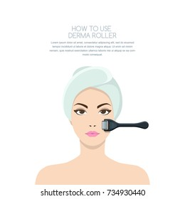 Cosmetology and beauty concept. Beautiful woman having rejuvenating derma roller therapy. Vector illustration of anti-aging non surgery medical procedures.