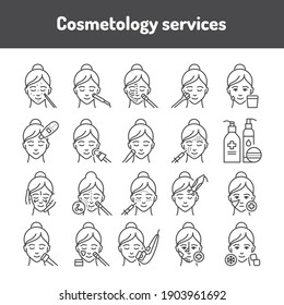 Cosmetology black line icons set. Skin care.