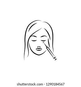cosmetology, eye, mimic hand drawn icon on white background