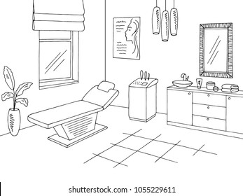 Cosmetology office clinic graphic black white interior sketch illustration vector
