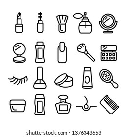 Cosmetology set of linear icons. Cosmetics linear icons collection