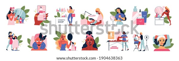 Cosmetology woman set of female characters faces with applied masks and packs with cosmetic product icons vector illustration
