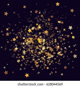 Cosmic abstract vector background with gold stars. Decorative pattern with gold night sky objects on black. Glitter star confetti, magic shining sparkles design. Celebration, space, glamour background