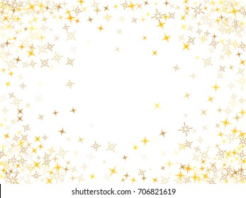 Cosmic abstract vector border background with gold star sparkle elements. Glitter gold confetti, magic sparkles shine design. Star dust border frame pattern on white with golden glitter vector.