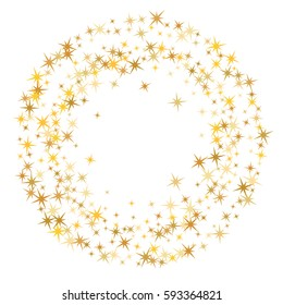 Cosmic abstract vector round background with gold star elements. Glitter confetti circle, magic shining sparkles design. Decorative ring pattern on white with golden night sky objects. Frame for text.